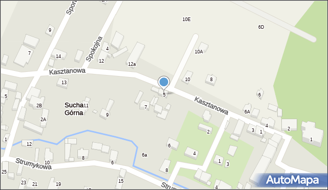 Sucha Górna, Kasztanowa, 5, mapa Sucha Górna