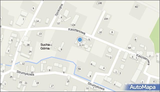 Sucha Górna, Kasztanowa, 7, mapa Sucha Górna