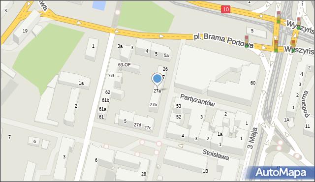 Szczecin, Kaszubska, 27a, mapa Szczecina