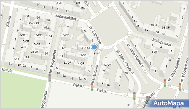 Szczecin, Kaszubska, 3, mapa Szczecina