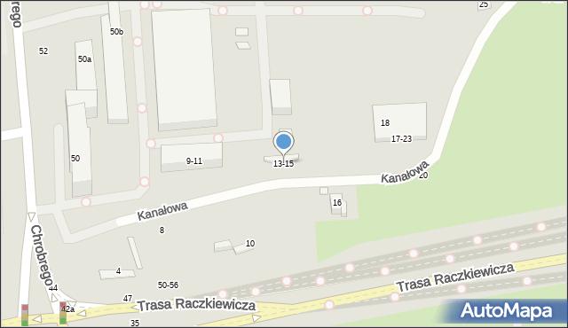 Toruń, Kanałowa, 13-15, mapa Torunia