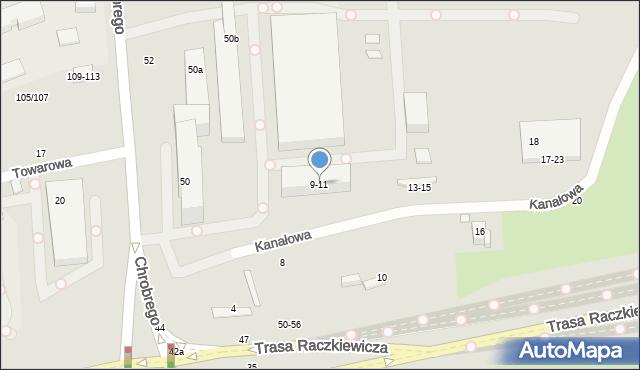 Toruń, Kanałowa, 9-11, mapa Torunia