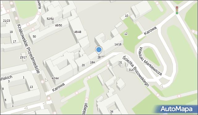 Warszawa, Karowa, 18, mapa Warszawy