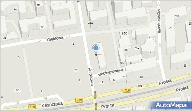 Warszawa, Karolkowa, 28, mapa Warszawy