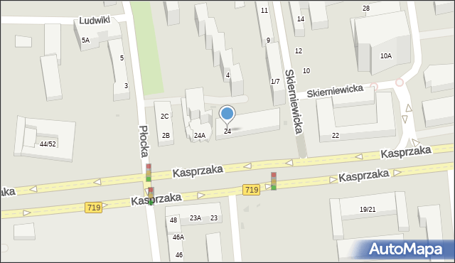 Warszawa, Kasprzaka Marcina, 24, mapa Warszawy