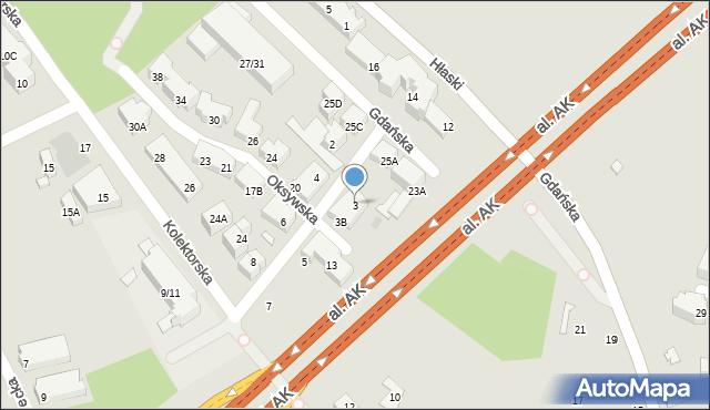 Warszawa, Kaskadowa, 3, mapa Warszawy