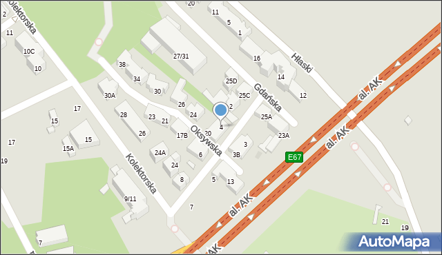 Warszawa, Kaskadowa, 4, mapa Warszawy