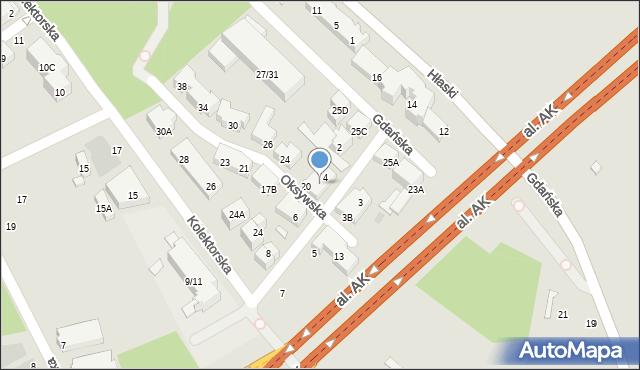 Warszawa, Kaskadowa, 4A, mapa Warszawy