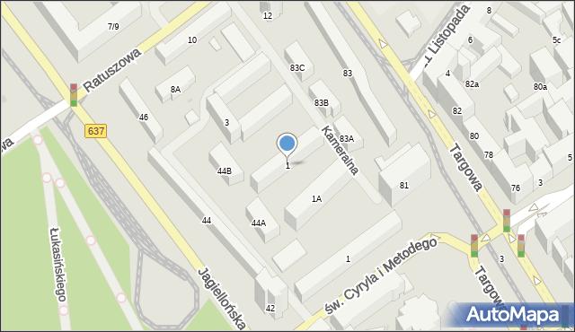 Warszawa, Kameralna, 1, mapa Warszawy