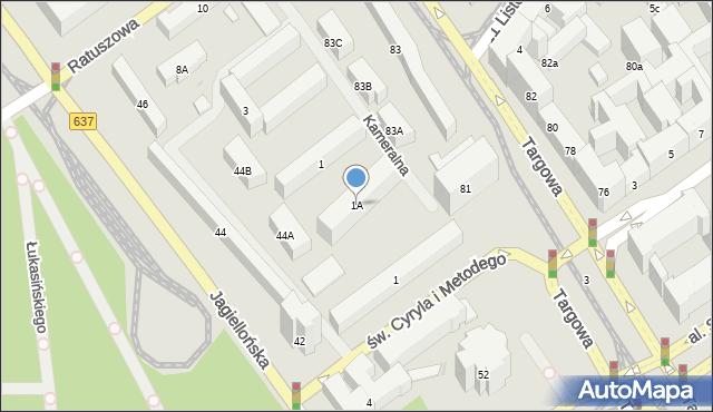 Warszawa, Kameralna, 1A, mapa Warszawy