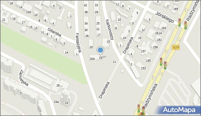 Warszawa, Karkonoszy, 13, mapa Warszawy