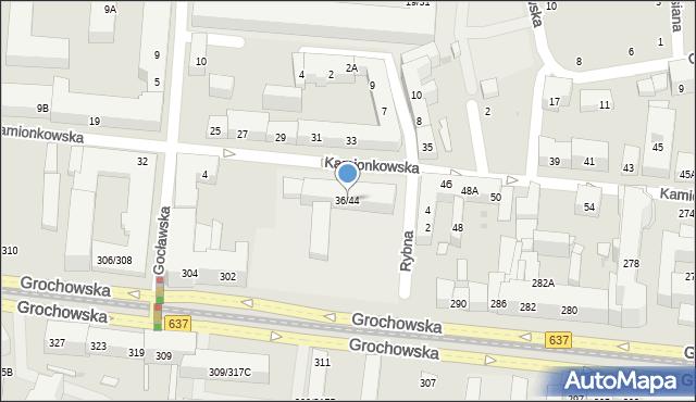 Warszawa, Kamionkowska, 36/44, mapa Warszawy