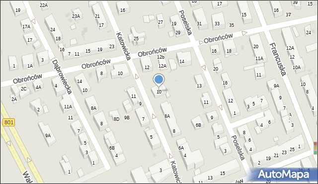 Warszawa, Katowicka, 10, mapa Warszawy