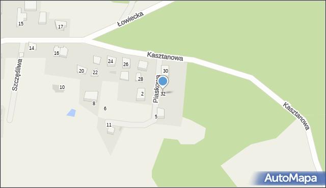 Wyszecino, Kasztanowa, 32, mapa Wyszecino