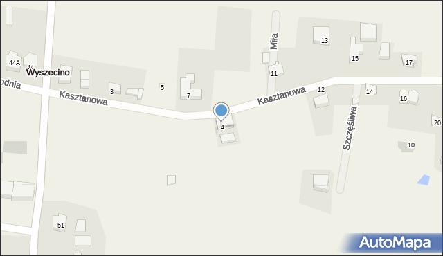 Wyszecino, Kasztanowa, 4, mapa Wyszecino