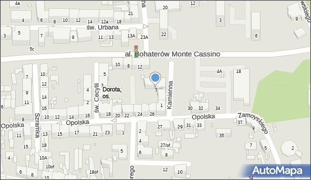 Zabrze, Kamienna, 3, mapa Zabrza
