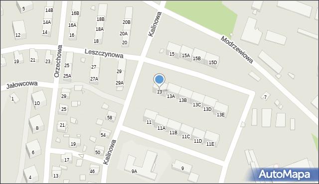 Zabrze, Kalinowa, 13, mapa Zabrza
