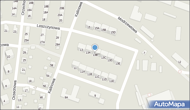 Zabrze, Kalinowa, 13B, mapa Zabrza