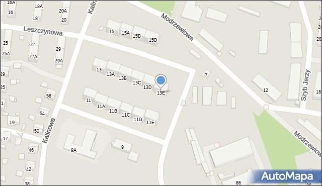 Zabrze, Kalinowa, 13E, mapa Zabrza