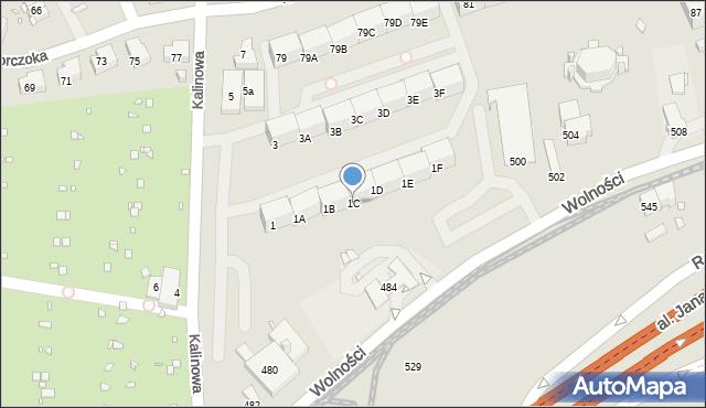 Zabrze, Kalinowa, 1C, mapa Zabrza