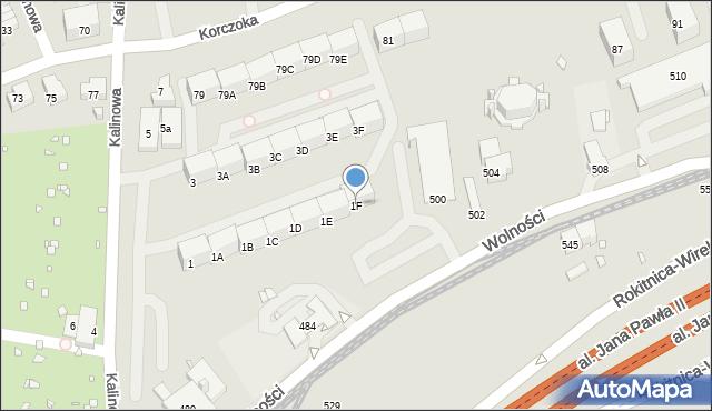 Zabrze, Kalinowa, 1F, mapa Zabrza