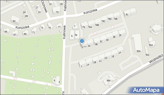 Zabrze, Kalinowa, 3, mapa Zabrza