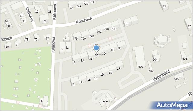Zabrze, Kalinowa, 3C, mapa Zabrza