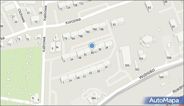 Zabrze, Kalinowa, 3D, mapa Zabrza