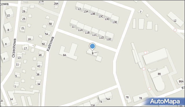 Zabrze, Kalinowa, 9, mapa Zabrza