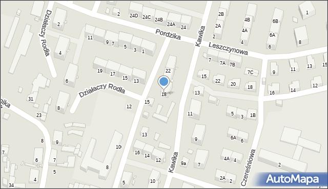 Zabrze, Kawika Adama, 18, mapa Zabrza