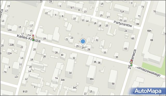 Radom, Kelles-Krauza Kazimierza, 27, mapa Radomia
