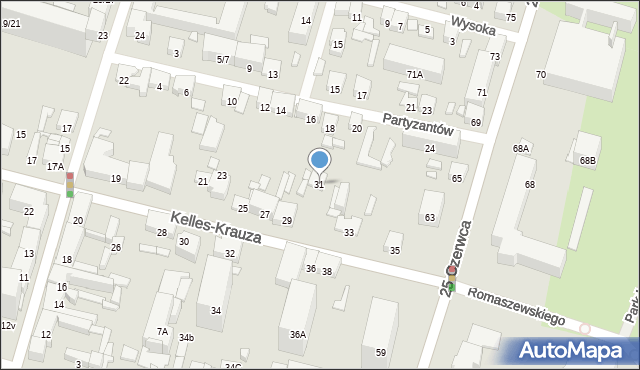 Radom, Kelles-Krauza Kazimierza, 31, mapa Radomia