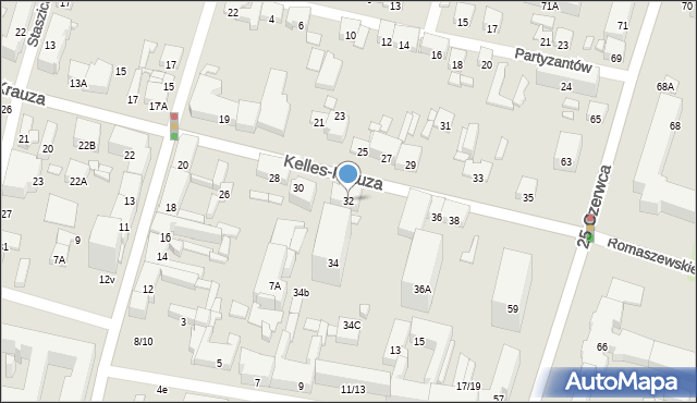 Radom, Kelles-Krauza Kazimierza, 32, mapa Radomia