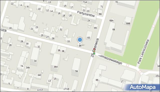 Radom, Kelles-Krauza Kazimierza, 35, mapa Radomia