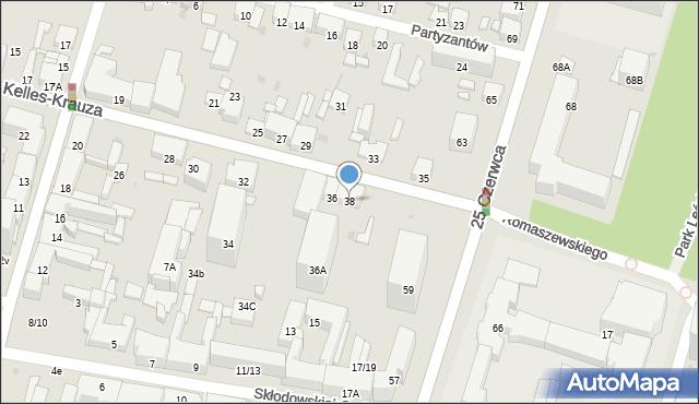 Radom, Kelles-Krauza Kazimierza, 38, mapa Radomia