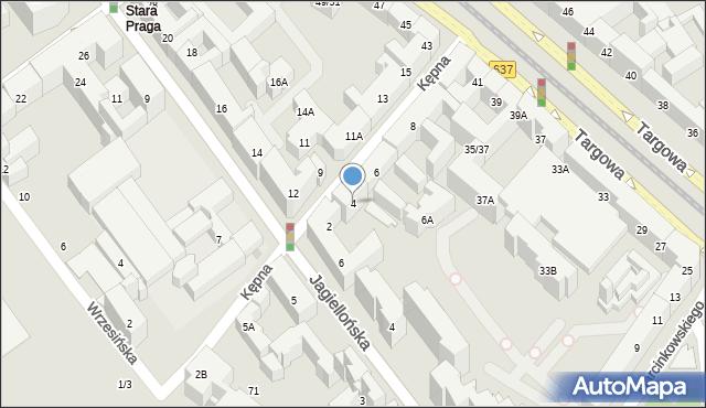 Warszawa, Kępna, 4, mapa Warszawy