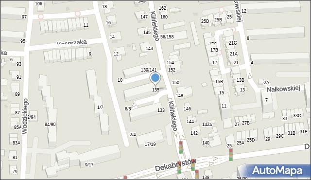 Częstochowa, Kilińskiego Jana, płk., 135, mapa Częstochowy