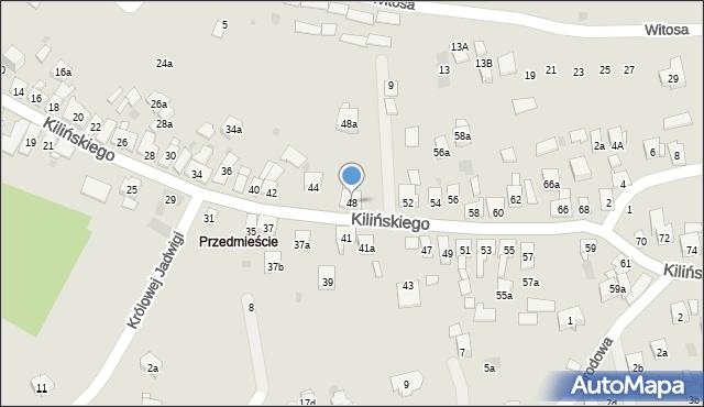 Dobczyce, Kilińskiego Jana, płk., 48, mapa Dobczyce