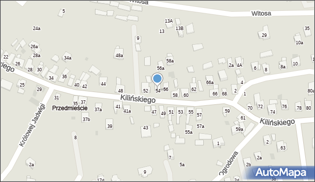 Dobczyce, Kilińskiego Jana, płk., 54, mapa Dobczyce