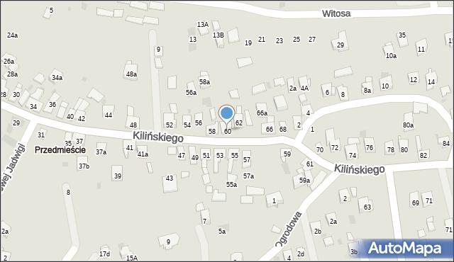 Dobczyce, Kilińskiego Jana, płk., 60, mapa Dobczyce