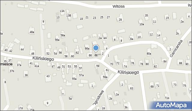 Dobczyce, Kilińskiego Jana, płk., 68, mapa Dobczyce