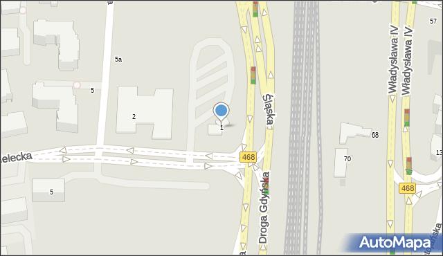 Gdynia, Kielecka, 1, mapa Gdyni