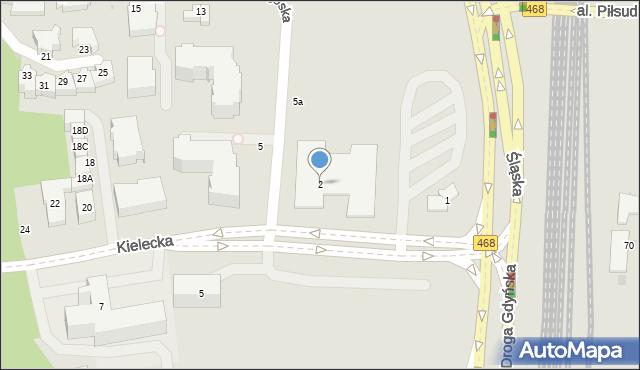 Gdynia, Kielecka, 2, mapa Gdyni