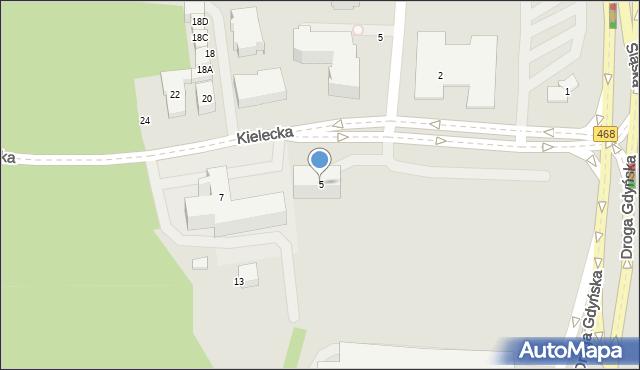 Gdynia, Kielecka, 5, mapa Gdyni