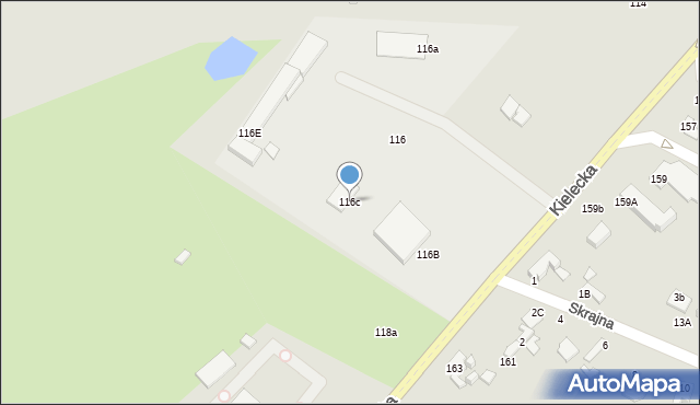 Radom, Kielecka, 116c, mapa Radomia