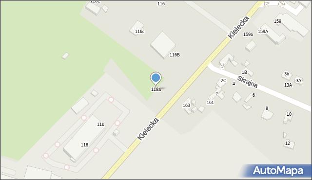 Radom, Kielecka, 118a, mapa Radomia