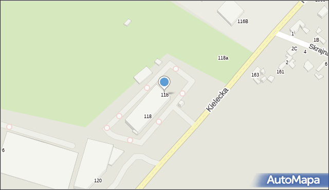Radom, Kielecka, 11b, mapa Radomia