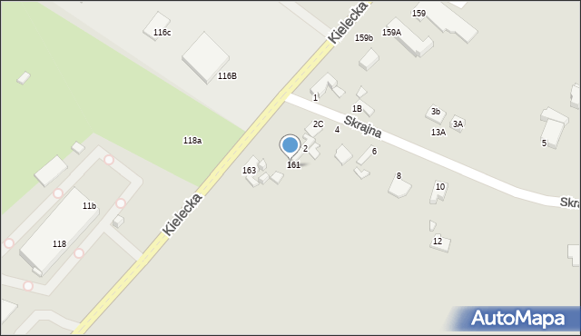 Radom, Kielecka, 161a, mapa Radomia