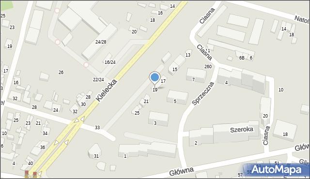 Radom, Kielecka, 19, mapa Radomia