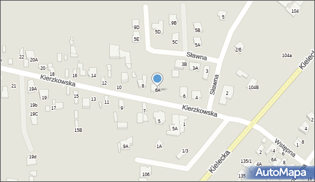 Radom, Kierzkowska, 6A, mapa Radomia